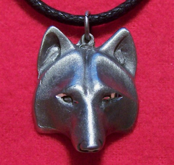 Pewter Wolf Tribal Mask Pendant Necklace Made in the U.S.A.