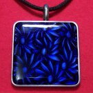 Pewter Dark Blue Flower Pattern Square Pendant Necklace
