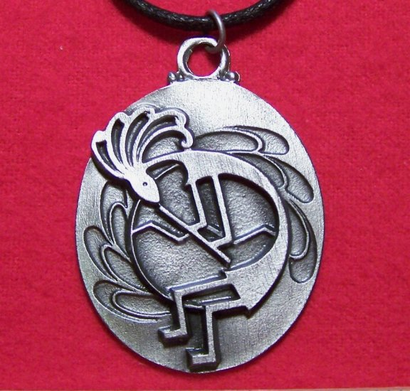 Pewter Dancing Kokepelli with Flute Pendant Necklace U.S.A.