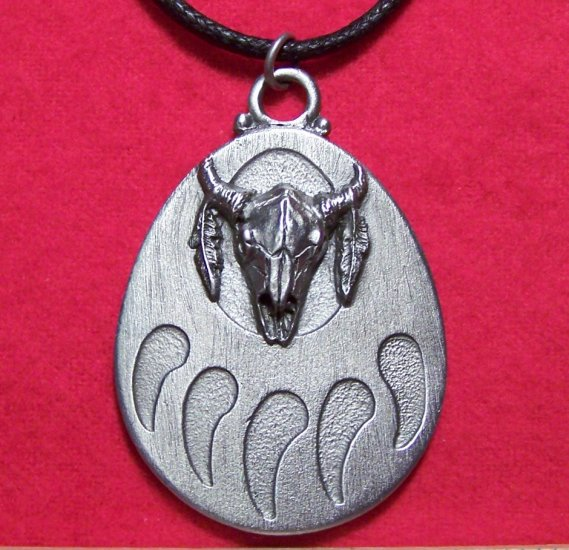 Pewter Bear Paw Steer Skull Feather Totem Pendant Necklace