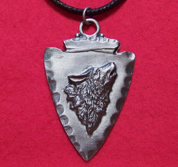Pewter Arrowhead Howling Wolf Tribal Pendant Necklace