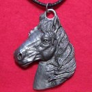 Pewter Beautiful Detailed Horse Head Pendant Necklace