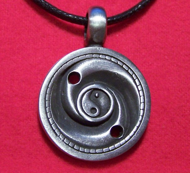 Antiqued Pewter Yin Yang Swirl Asian Pendant Necklace