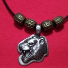 Antiqued Pewter Panther Face Head Pendant Necklace