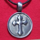 Silver Tone Pewter Medieval Cross Round Pendant Necklace