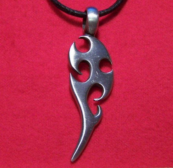 Silver Tone Pewter Jagged Dagger Pendant Necklace