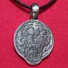 Pewter Sketched Tiger Head Round Pendant Necklace