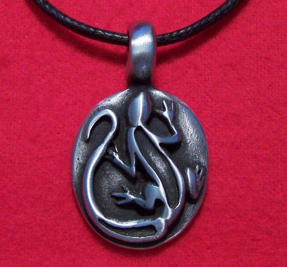 Antiqued Pewter Lizard Round Reptile Pendant Necklace