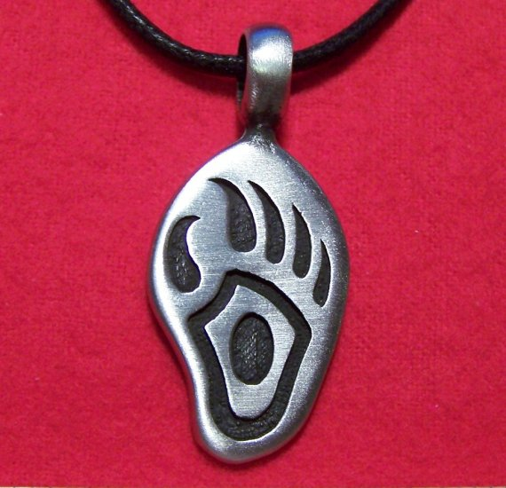 Silver Tone Pewter Bear Pawprint Tribal Pendant Necklace