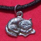 Antiqued Pewter Sleeping Napping Kitty Cat Pendant Necklace