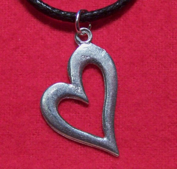 Antiqued Pewter True Love Heart Pendant Necklace U.S.A.