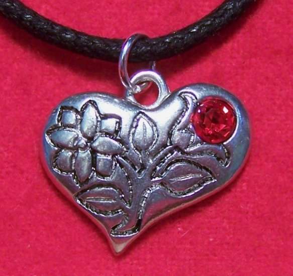 Antiqued Pewter Flower Red Tulip Lily Heart Pendant Necklace