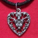 Antiqued Pewter Victorian Era Style Heart Pendant Necklace