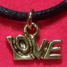 Antiqued Gold Tone Pewter LOVE Romance Pendant Necklace