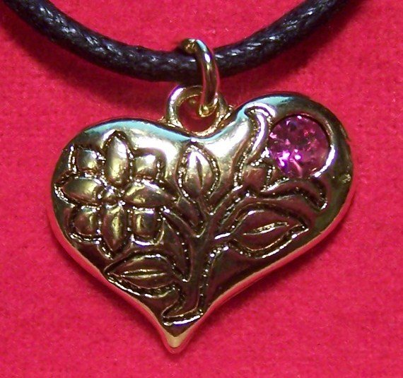 Pewter Flower Pink Tulip Lily Heart Pendant Necklace U.S.A.
