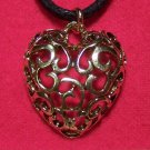 Pewter Filigree Style Design Heart Pendant Necklace U.S.A.