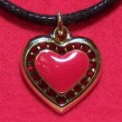 Antiqued Gold Tone Pewter Red Love Heart Pendant Necklace