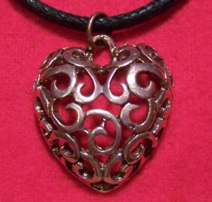 Copper Pewter Filigree Style Design Heart Pendant Necklace