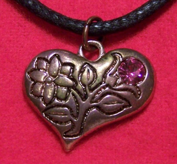 Copper Pewter Heart Flower Pink Tulip Lily Pendant Necklace