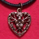 Copper Pewter Victorian Era Style Heart Pendant Necklace