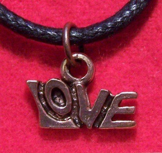 Antiqued Copper Pewter LOVE Romance Pendant Necklace