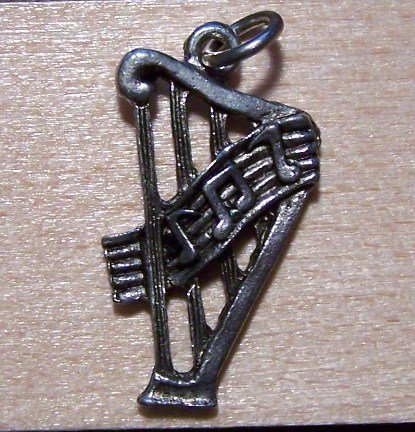 Pewter Harp Charm Lead Safe Made in the U.S.A.