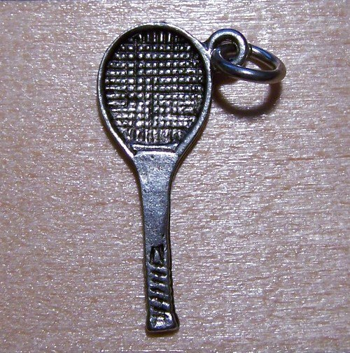 Pewter Tennis Racket Charm Lead Safe Made in the U.S.A.