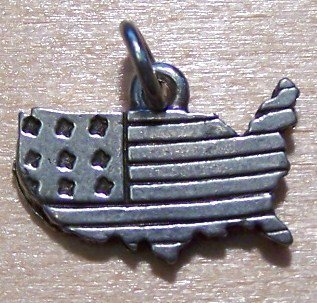 Pewter United States of America Charm Lead Safe U.S.A.