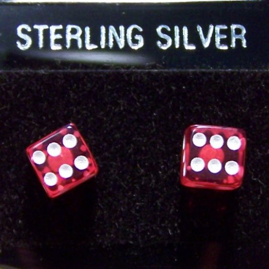 Acrylic Red Dice .925 Sterling Silver Stud Earrings Thailand