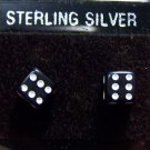 Acrylic Black Dice .925 Sterling Silver Stud Earrings Thailand