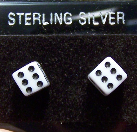 Acrylic White Dice .925 Sterling Silver Stud Earrings Thailand