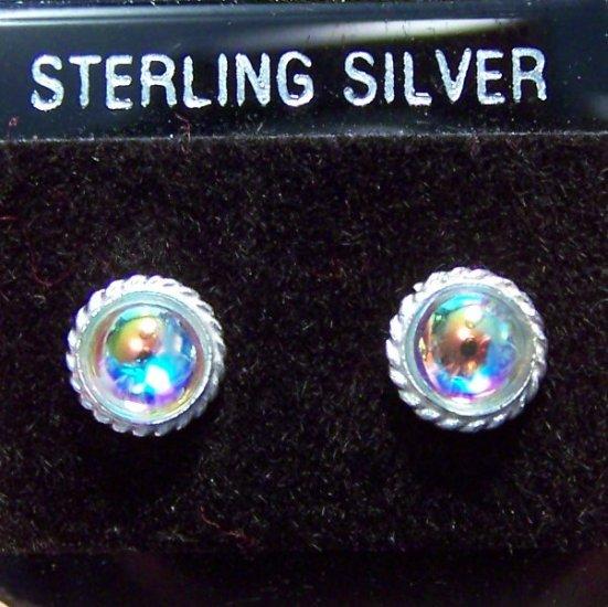 Elegant AB Glass .925 Sterling Silver Stud Earrings Thailand