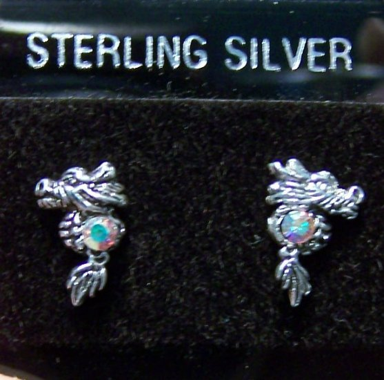 .925 Sterling Silver Dragon Stud Earrings Made in Thailand