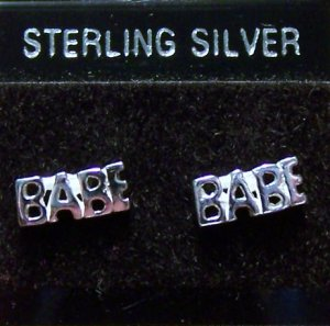 .925 Sterling Silver BABE Stud Earrings Made in Thailand