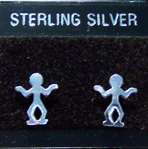 .925 Sterling Silver Human Figure Stud Earrings Thailand