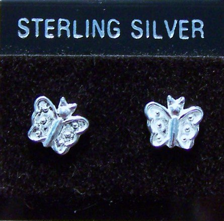 .925 Sterling Silver Butterfly Stud Earrings Made in Thailand