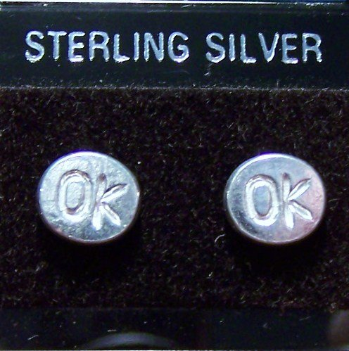 .925 Sterling Silver  OK Stud Earrings Made in Thailand