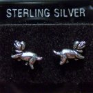.925 Sterling Silver Dachshund Dog Stud Earrings