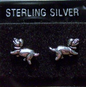 .925 Sterling Silver Dachshund Dog Stud Earrings