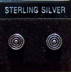 .925 Sterling Silver Bulls Eye Circles Stud Earrings
