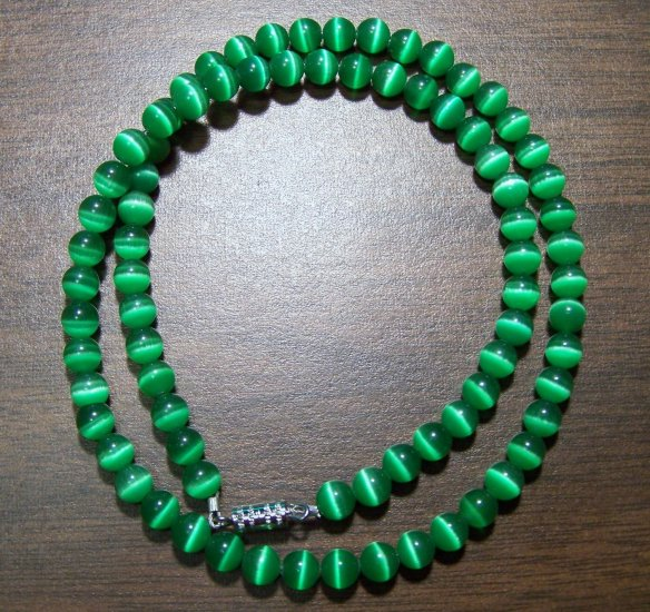 Grade A Dark Green Cat's Eye Glass Necklace Made in U.S.A.