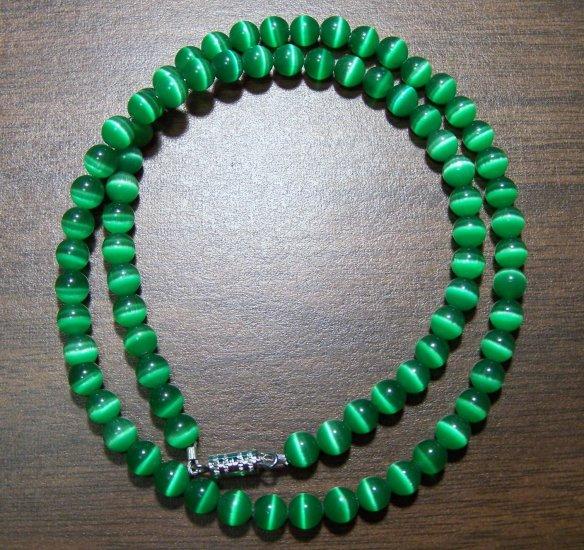 Grade A Dark Green Cat's Eye Glass Necklace Made in U.S.A.