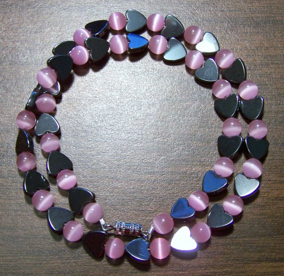 Grade A Pink Cat's Eye Glass with Hemalyke Hearts Necklace