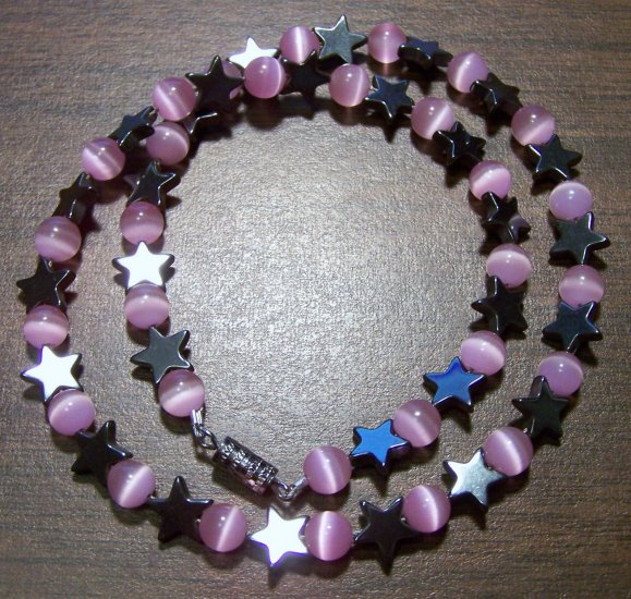 Grade A Pink Cat's Eye Glass with Hemalyke Stars Necklace