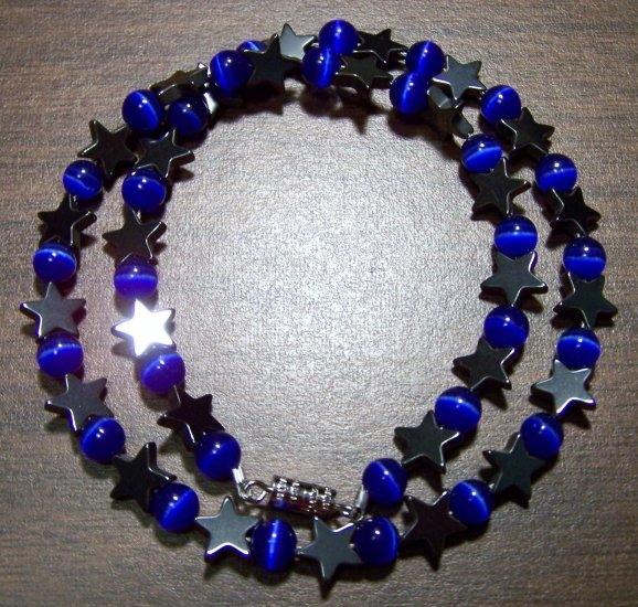 Dark Blue Cat's Eye Glass with Hemalyke Stars Necklace