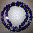 Dark Blue Cat's Eye Glass with Hemalyke Stars Necklace