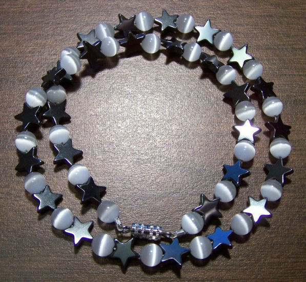 Grade A White Cat's Eye Glass with Hemalyke Stars Necklace