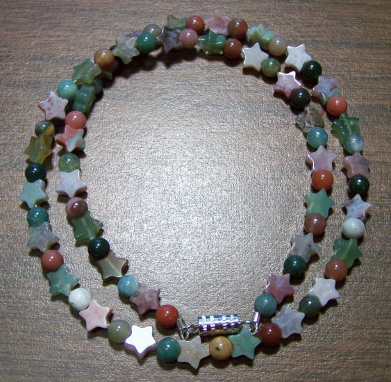 Natural Stone Fancy Jasper with Stars Necklace U.S.A.