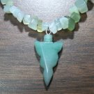 Peridot - Quartz Necklace with Green Aventurine Arrowhead Pendant