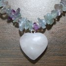 Rainbow Fluorite Necklace with Rose Quartz Heart Pendant